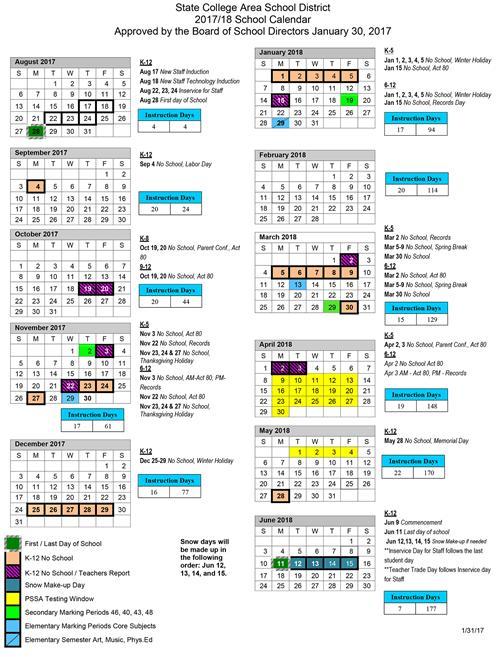 academic calendar 2017 2018