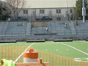 Bleacher removal work continues