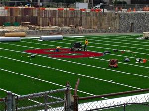 The S is applied to the artificial turf