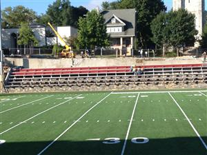 West Side bleachers are installed