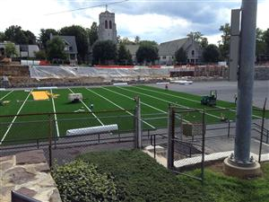 the artificial turf is being installed