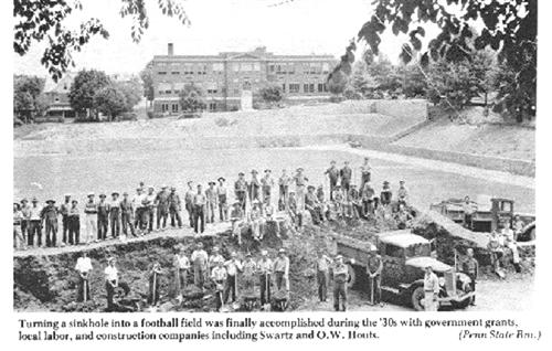 Construction of the football field in the 1930s