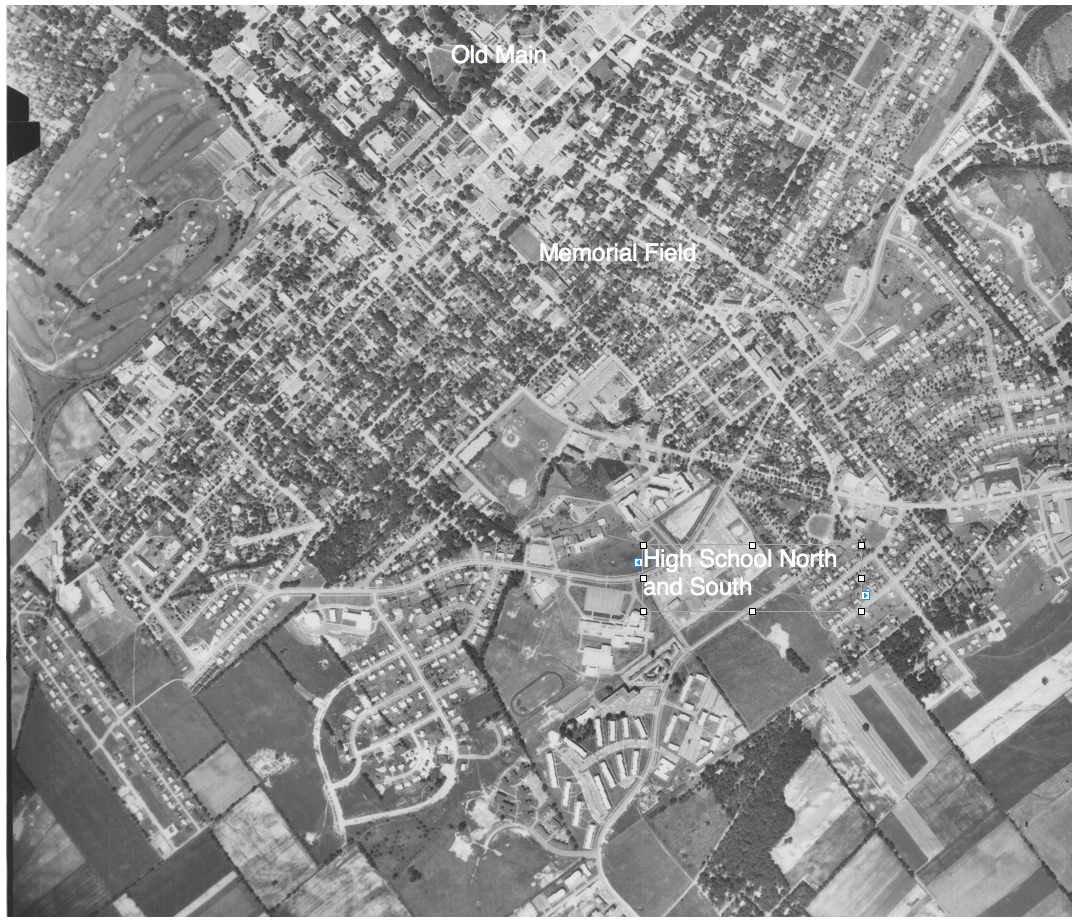 Aerial photo of State College in 1971