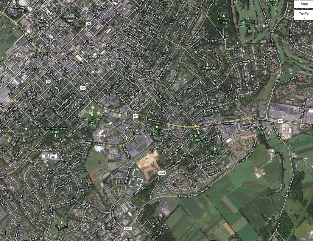 Google earth view of our area