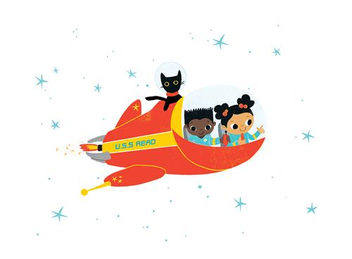 kids & cat in spaceship