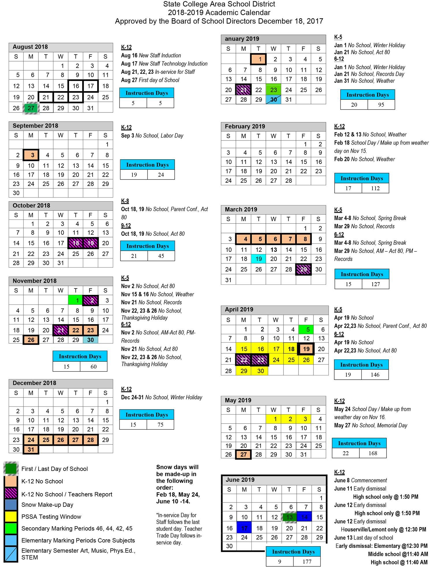 Penn State Academic Calendar 2019 2018 2019 Academic Calendar