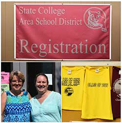 Registration office staff, sign, t-shirts