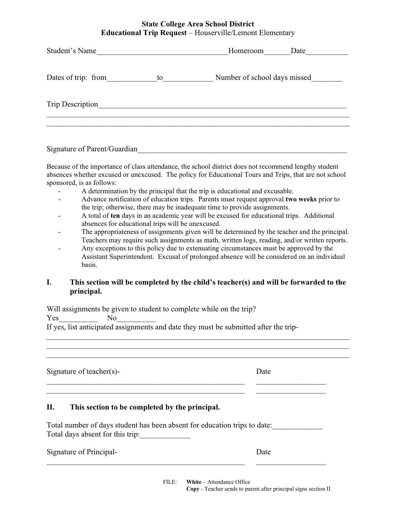 Educational trip form
