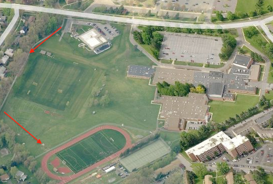 aerial view of high school facilities with arrows pointing to bike path