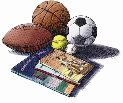 Sports equipment and books