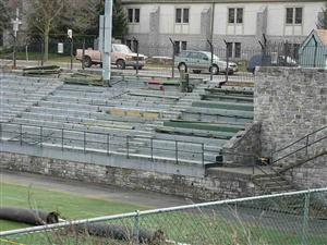 Bleachers are being removed from the west side
